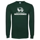 Dark Green Long Sleeve T Shirt-Utah Valley Wolverines Logo