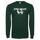 Dark Green Long Sleeve T Shirt-Utah Valley Logo