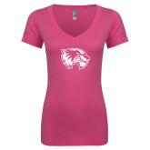Next Level Ladies Junior Fit Ideal V Pink Tee-Primary Logo