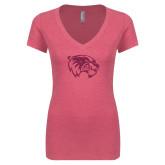 Next Level Ladies Vintage Pink Tri Blend V Neck Tee-Wolverine Glitter Hot Pink