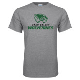 Grey T Shirt-Utah Valley Wolverines Logo