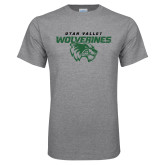 Grey T Shirt-UVU Wolverines Distressed