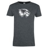 Ladies Dark Heather T Shirt-Wolverine Logo Distressed
