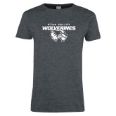 Ladies Dark Heather T Shirt-UVU Wolverines Distressed
