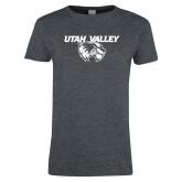 Ladies Dark Heather T Shirt-Utah Valley Logo