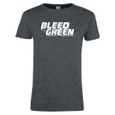Ladies Dark Heather T Shirt-Bleed Green