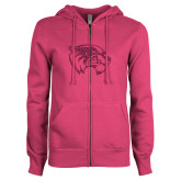 ENZA Ladies Fuchsia Fleece Full Zip Hoodie-Wolverine Glitter Hot Pink
