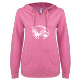 ENZA Ladies Hot Pink V Notch Raw Edge Fleece Hoodie-Primary Logo