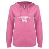 ENZA Ladies Hot Pink V Notch Raw Edge Fleece Hoodie-Secondary Logo