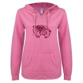 ENZA Ladies Hot Pink V Notch Raw Edge Fleece Hoodie-Wolverine Glitter Hot Pink