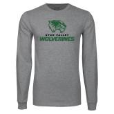 Grey Long Sleeve T Shirt-Utah Valley Wolverines Logo