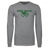 Grey Long Sleeve T Shirt-Utah Valley Logo