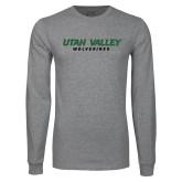 Grey Long Sleeve T Shirt-Utah Valley Word Mark