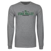 Grey Long Sleeve T Shirt-Utah Valley Since 1941