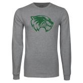 Grey Long Sleeve T Shirt-Wolverine Logo Distressed