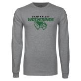 Grey Long Sleeve T Shirt-UVU Wolverines Distressed