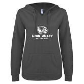 ENZA Ladies Dark Heather V Notch Raw Edge Fleece Hoodie-Utah Valley University