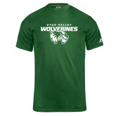 Russell Core Performance Dark Green Tee-Secondary Logo