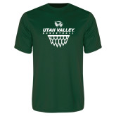 Performance Dark Green Tee-Wolverines Basketball