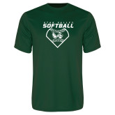 Performance Dark Green Tee-Wolverine Softball