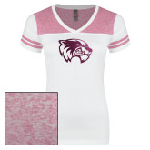 Ladies White/Heathered Pink Juniors Varsity V Neck Tee-Primary Logo Foil