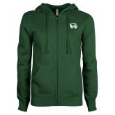 ENZA Ladies Dark Green Fleece Full Zip Hoodie-Primary Logo