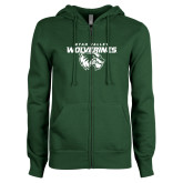 ENZA Ladies Dark Green Fleece Full Zip Hoodie-Secondary Logo
