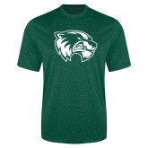 Performance Dark Green Heather Contender Tee-Primary Logo