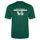 Performance Dark Green Heather Contender Tee-Secondary Logo