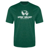Performance Dark Green Heather Contender Tee-Utah Valley University