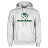 White Fleece Hoodie-Utah Valley Wolverines Logo