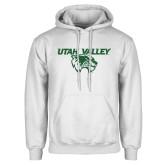 White Fleece Hoodie-Utah Valley Logo