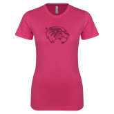Next Level Ladies SoftStyle Junior Fitted Fuchsia Tee-Wolverine Glitter Hot Pink