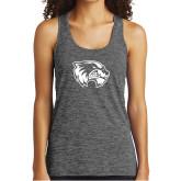 Ladies Grey/Black Heather Performance Tank-Primary Logo