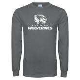 Charcoal Long Sleeve T Shirt-Utah Valley Wolverines Logo