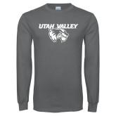 Charcoal Long Sleeve T Shirt-Utah Valley Logo