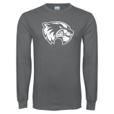 Charcoal Long Sleeve T Shirt-Wolverine Logo Distressed