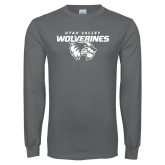 Charcoal Long Sleeve T Shirt-UVU Wolverines Distressed