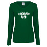 Ladies Dark Green Long Sleeve V Neck Tee-Secondary Logo