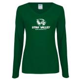 Ladies Dark Green Long Sleeve V Neck Tee-Utah Valley University
