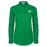 Ladies Kelly Green Twill Button Down Long Sleeve-Secondary Logo