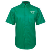 Kelly Green Twill Button Down Short Sleeve-Secondary Logo