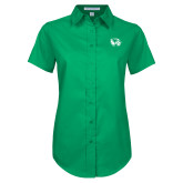 Ladies Kelly Green Twill Button Up Short Sleeve-Primary Logo