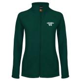 Ladies Fleece Full Zip Dark Green Jacket-Secondary Logo