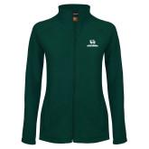 Ladies Fleece Full Zip Dark Green Jacket-Utah Valley Wolverines Logo