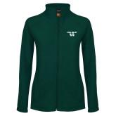 Ladies Fleece Full Zip Dark Green Jacket-Utah Valley Logo