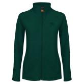 Ladies Fleece Full Zip Dark Green Jacket-Primary Logo