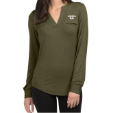 Ladies Lux Olive Green Split Neck Blouse-Secondary Logo