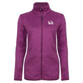 Dark Pink Heather Ladies Fleece Jacket-Primary Logo