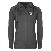 Ladies Sport Wick Stretch Full Zip Charcoal Jacket-Secondary Logo